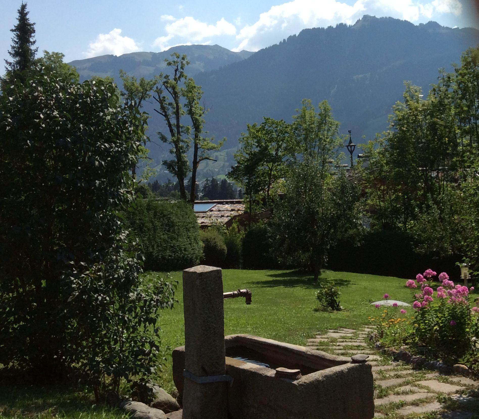 Blick auf den Hahnenkamm von der eigenen Terrasse